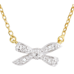 gifts woman Necklace Eden's Bow White and Yellow Gold