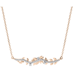 gift Necklace Enchanted Garden - Foliage Royal - Pink gold and diamonds - 9 carat