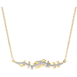 gift women Necklace Enchanted Garden - Foliage Royal - Yellow gold and diamonds - 9 carat