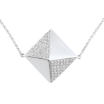 wedding Necklace Genesis - Long necklace rough diamond - white gold