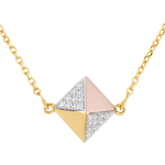 women Necklace Genesis - Rough Diamond 3 golds - 18 carat