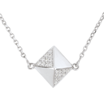 gift Necklace Genesis - Rough diamond white gold - 9 carat