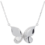 gifts woman Necklace Imaginary Walk - Butterfly Cascade - White Gold