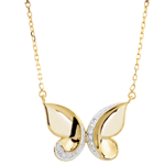 gift women Necklace Imaginary Walk - Butterfly Cascade - Yellow Gold
