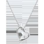 Necklace Imaginary walk - Snake of love - small model - white gold diamond- 18 carats