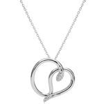 gifts Necklace Imaginary walk - Snake of love - white gold diamonds - 9 carats