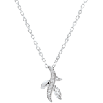 Necklace Mysterious wood - white gold and marquise diamonds - 18 carats