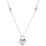 gift woman Necklace Precious Secret - Heart - White Gold