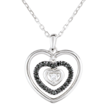 gifts Necklace Printed Heart White Gold - Black Diamonds