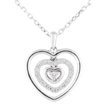 present Necklace Printed Heart White Gold