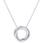 Necklace Saturn - white gold and diamonds - 9 carats