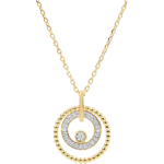gift women Necklace yellow gold and diamonds - Salty Flower - Circle - yellow gold