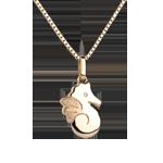 Niedliches Seepferdchen - Großes Modell - Gelbgold - 9 Karat