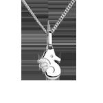 Niedliches Seepferdchen - Kleines Modell - Weißgold