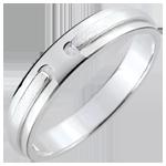 Obrączka Obietnica - czyste złoto - złoto białe 9-karatowe szczotkowane