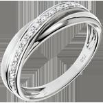Obrączka Saturn z diamentem - złoto białe 9-karatowe