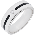 Obrączka Światłocień - Linia i diamenty - Duży model - czarna laka - złoto białe 18-karatowe