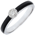 Obscuur Licht- Solitaire Ring - zwarte lak en diamanten 0,04 kt - 18 karaat