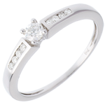 gift woman Octave Solitaire ring white gold - 0.21 carat - 9 diamonds