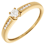 Octave Solitaire ring yellow gold - 0.21 carat - 9diamonds