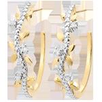 Frau Ohrringe - Creolen Verzauberter Garten - Königliches Blattwerk - Gelbgold und Diamanten - 18 Karat