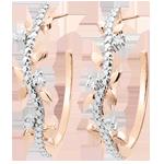 Geschenke Ohrringe - Creolen Verzauberter Garten - Königliches Blattwerk - Roségold und Diamanten - 18 Karat