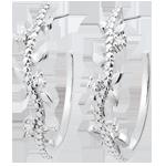 Ohrringe - Creolen Verzauberter Garten - Königliches Blattwerk - Weißgold und Diamanten - 18 Karat