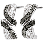 Verkäufe Ohrringe Dämmerschein - Rendez-vous - Schwarze und weiße Diamanten - 18 Karat
