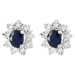 Ohrringe Eternel Edelweiss - Marguerite Illusion – Saphir und Diamanten - 18 Karat Weißgold