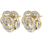 Goldschmuck Ohrringe Frische - Bestickte Rose - Weißgold, Gelbgold und Diamanten