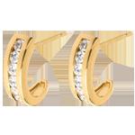 Geschenk Frauen Ohrringe Halbmond in Gelbgold - 0.41 Karat - 12 Diamanten