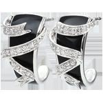 Ohrringe in Weißgold Dämmerschein - Sternenstaub - Diamanten und schwarzer Lack
