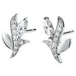 Schmuck Ohrringe Mysteriöser Wald - Weißgold und Marquise Diamanten - 9 Karat