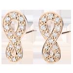 Juwelier Ohrringe Unendlichkeit - Roségold und Diamanten - 9 Karat