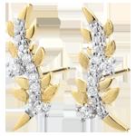 Juwelier Ohrringe Verzauberter Garten - Königliches Blattwerk - Gelbgold und Diamanten - 9 Karat