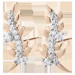 Hochzeit Ohrringe Verzauberter Garten - Königliches Blattwerk - Rotgold und Diamanten - 18 Karat
