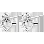 Ohrringe Vielfalt - Herz Anahata - 18 Karat Weißgold und Diamanten