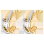 Geschenk Frauen Ohrstecker das Kostbarer Kokon - Anziehungskraft- Gelb- und Weißgold - 18 Karat