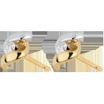Ohrstecker Kostbarer Kokon - Mademoiselle - Weiß- und Gelbgold - 18 Karat