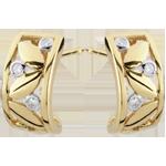gouden juweel Oorbellen Frisheid - Creolen gebladerte - geel goud - 9 karaat