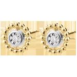 Oorbellen Gezouten Bloem - Cirkel - geel goud