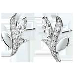 cadeau dame Oorbellen Mysterieus Bos - wit goud en zaadjes in diamant - 18 karaat