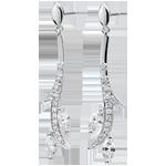 Oorbellen Mysterieus Bos - wit goud en zaadjes in diamant - 9 karaat