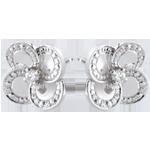 Oorbellen Ontluiken - Witte klaver - goud en diamanten