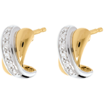 Oorbellen Tandem Wit en Geel Goud betegeld - 12 Diamanten