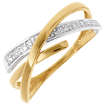 on line sell Orbit ring yellow and white gold - 3diamonds