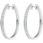 Orecchini Anello di Venere - Oro bianco - 18 carati - 32 Diamanti - 0.16 carati