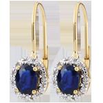 Orecchini Apolline - Oro bianco e Oro giallo - 9 carati - 4 Diamanti - 2 Zaffiri