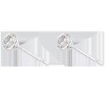 Orecchini Bambolina Solitario - Oro bianco - 18 carati - 2 Diamanti - 0.51 carati