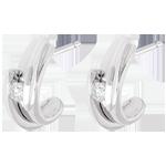 Orecchini Bipolari - Oro bianco - 18 carati - 2 Diamanti - 0.13 carati